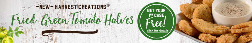 Fried Green Tomato Halves - get your first case free