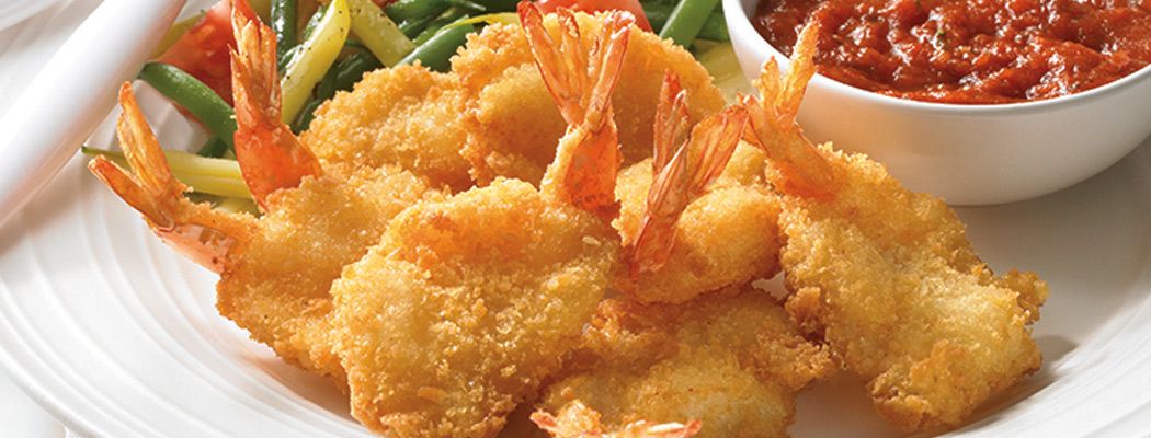 Golden Breaded Butterfly and Round Shrimp – Gold Panko Breading